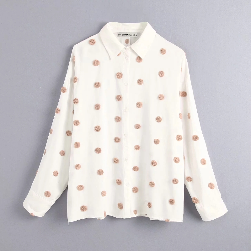 2019 Women Sweet Fur Ball Appliques Casual Business Blouse Shirts Women Dots Embroidery Office Blusas Chic Autumn Tops LS4234