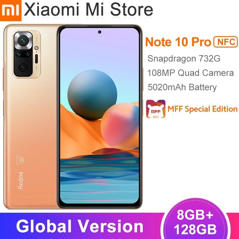 Global Version Xiaomi Redmi Note 10 Pro Mobile Phone 8GB 128GB Snapdragon 732G Octa Core 108MP Quad Camera 5020mAh Battery