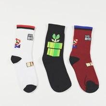 Unisex harajuku calcetines maré marca de rua homens e mulheres maré meias algodão super jogo dos desenhos animados cannibal flor meia