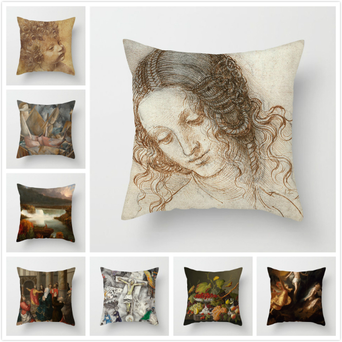 Fuwatacchi Nordic Style Pillows Cover Monla Lisa Painting Throw Cushion Cover For Home Sofa Chair Decorative Pillows 45*45cm