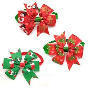 Image 4 - 50pcs חתולי כלב חג המולד חיית מחמד כלבים Bowtie צווארון חג קישוט Acciessories חג מולד טיפוח לחיות מחמד אספקת 12 צבע