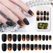 24 шт накладные ногти черный длинный гроб пламя поддельные полное