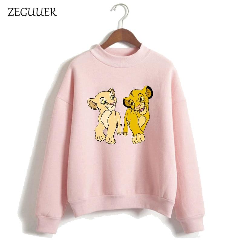 The Lion King HAKUNA MATATA Women Harajuku Sweatshirt Clothes Streetwear Hipster Women Hoodies Kawaii Print Hoodies Pink Hoodies