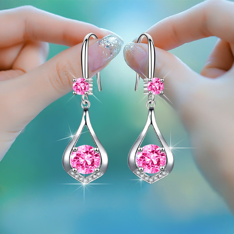 Luxury Female Crystal Zircon Drop Earrings Cute Blue White Pink Round Stone Creative Teardrop Earrings For Women Wedding Jewelry