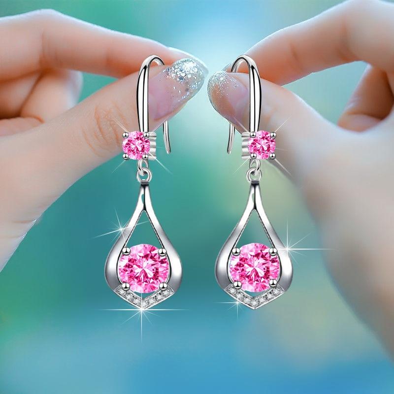 Luxury Female Crystal Zircon Drop Earrings Cute Blue White Pink Round Stone Creative Teardrop Earrings For Women Wedding Jewelry