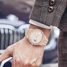Модные шикарные мужские часы роскошные стразы бриллиантовые