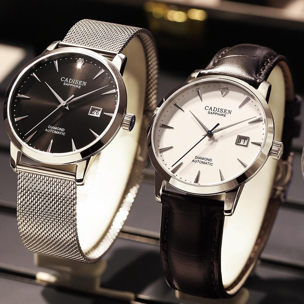 Image 2 - CADISEN Men Watches Automatic Mechanical Wrist Watch MIYOTA 9015 Top Brand Luxury Real Diamond Watch Curved Sapphire Glass ClockMechanical Watches   -