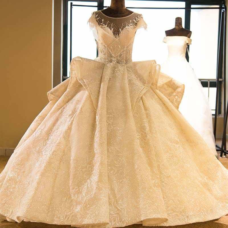 Vestido De Noiva oszałamiająca całe z koralików koronkowa suknia ślubna wspaniała suknia balowa suknia panny młodej prawdziwe zdjęcia