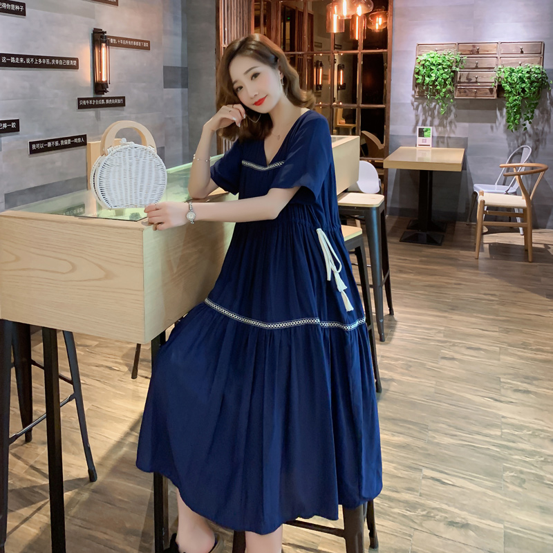 COIGARSAM 4XL Plus Size National Wind Women Dress New Summer High Waist Dresses Red Blue Black 2196