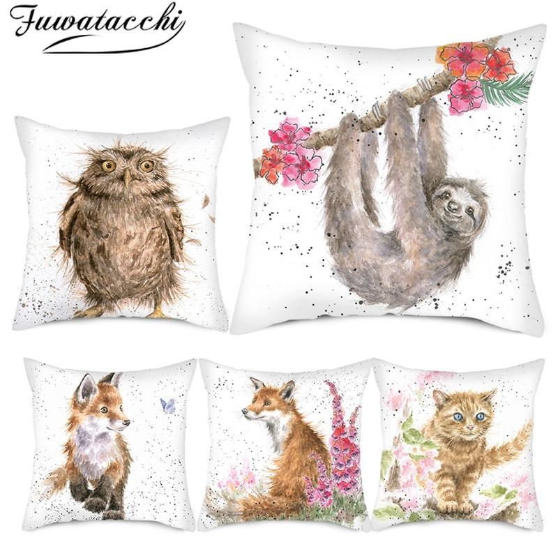 Fuwatacchi Sonw Dog Various Cartoon Animals Cushion Cover Cute Cat Fox Pillow Cover Home Sofa Car Decorative Pillowcase 45x45cm