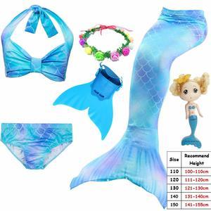 Image 5 - Cinessd 2019 ילדים Swimmable בת ים זנב עבור בנות שחייה חליפת Bating בת ים תלבושות בגד ים יכול להוסיף מונופין סנפיר