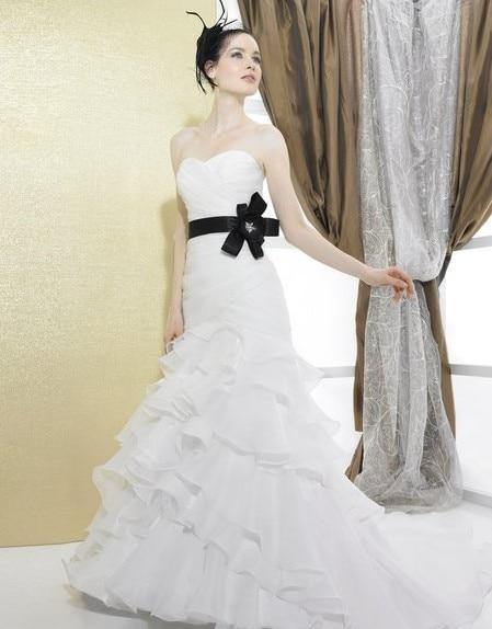 Organza/Satin Sweetheart Open Back Lace-up Drop Waist Chapel Train Rhinestones Beads Flower Bow Wedding Dress