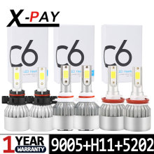 цены 6PCS 5202 H16 Fog Light +HB3/9005 High Beam + H11/H9/H8 Low Beam COB Chips 12000LM 6000K LED Headlight Bulbs Car Light Lamp