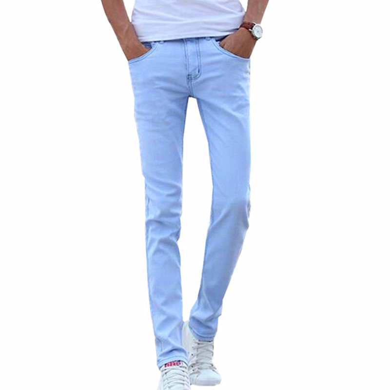 2020 Small Stretch Light Blue Cotton Mens Jeans 28 29 30 31 32 33 34 36 Sky Blue Jeans Men Trousers Slim Soft And Comfortable