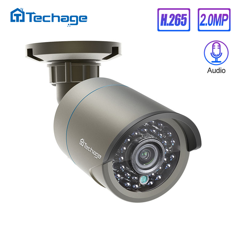 <font><b>Techage</b></font> H.265 1080P Audio Sound <font><b>POE</b></font> IP <font><b>Camera</b></font> 2MP Waterproof Outdoor Video CCTV Security Surveillance ONVIF for <font><b>POE</b></font> NVR System image