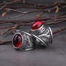 2020 Hot Selling Stainless Steel Red Stone Ring Viking raven and wolf ring never fade rune as men gift
