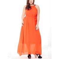 4xl 5xl 6xl Plus Size Maxi Chiffon Dress Women Big Size Long Beach Dresses 2018 Fashion Sleeveless Vestidos with Sashes Sundress