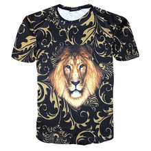 Summer style Mens 3d Floral Luxury Print T-shirt 2021 New Golden Crown T-shirt Fashion Brand Clothing Man Casual Slim Fit Tops