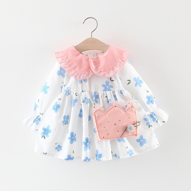 New Autumn Girl Clothes Fashion Long-sleeved Cotton Dress Lovely Flower Print 0-3T Newborn Baby