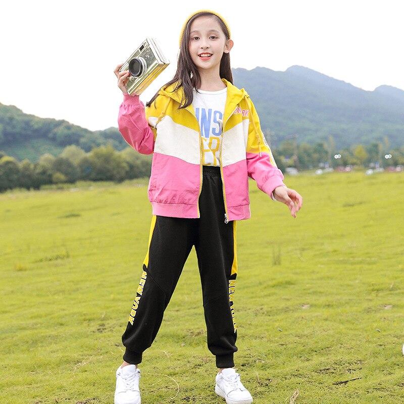 Girl Baby Spring Autumn Colorblock Sports Suit Hooded Coat +Pants 2 Pcs Kid Children Big Girls Campus School Uniform Sportswear