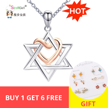 The State of Israel 925 Sterling Silver Chain Love Heart Pendant&Necklaces For Women David Girl Cross Jewelry
