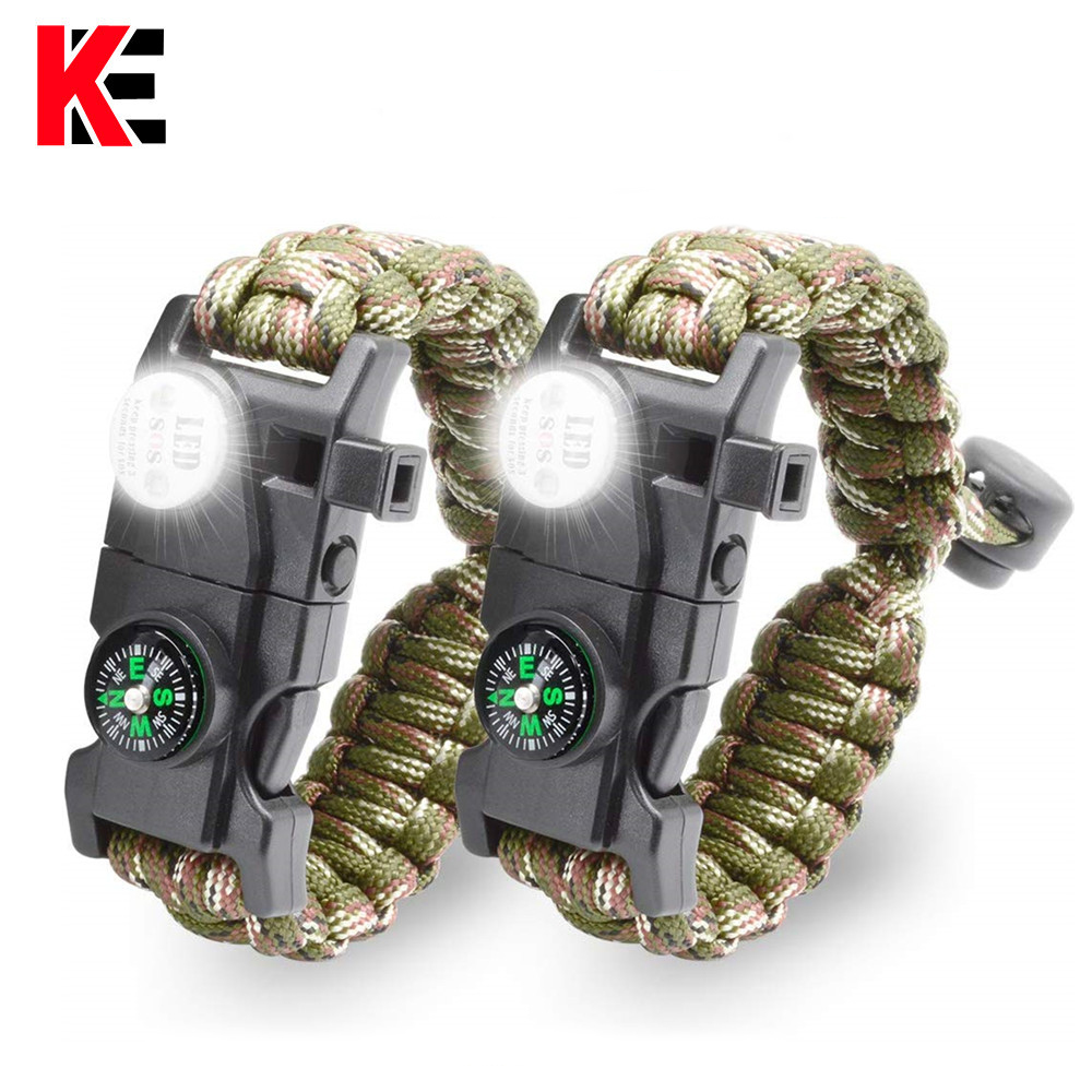 Survival Bracelet Paracord With SOS Lamp Compass Whistle Knife Outdoor For Men Women Camping For Tourism SOS Emergency Kit EDC