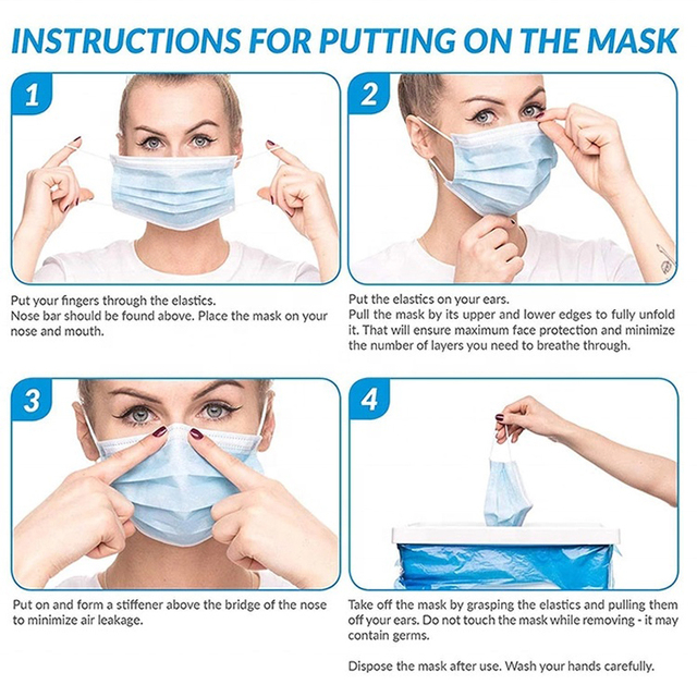 High Quality 100 PCS Non Woven Disposable Face Mask 3 Layers Earloop Anti-Dust Face Masks Disposable Mouth Mask 5