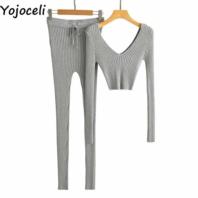 Yojoceli-ensemble élégant 2 pièces, barboteuse tricoté décontracté, salopette chaude, cool, automne hiver