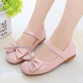Beige Pink Black Girls Leather Shoes for Kids Bow Princess Single shoes chaussure fille 3-15T