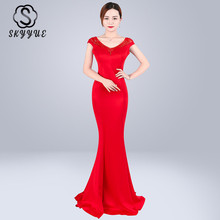 Skyyue Evening Dress Double Deep V-neck Robe De Soiree Crystal Women Party Dresses 2019 Sleeveless Fromal Gowns C237