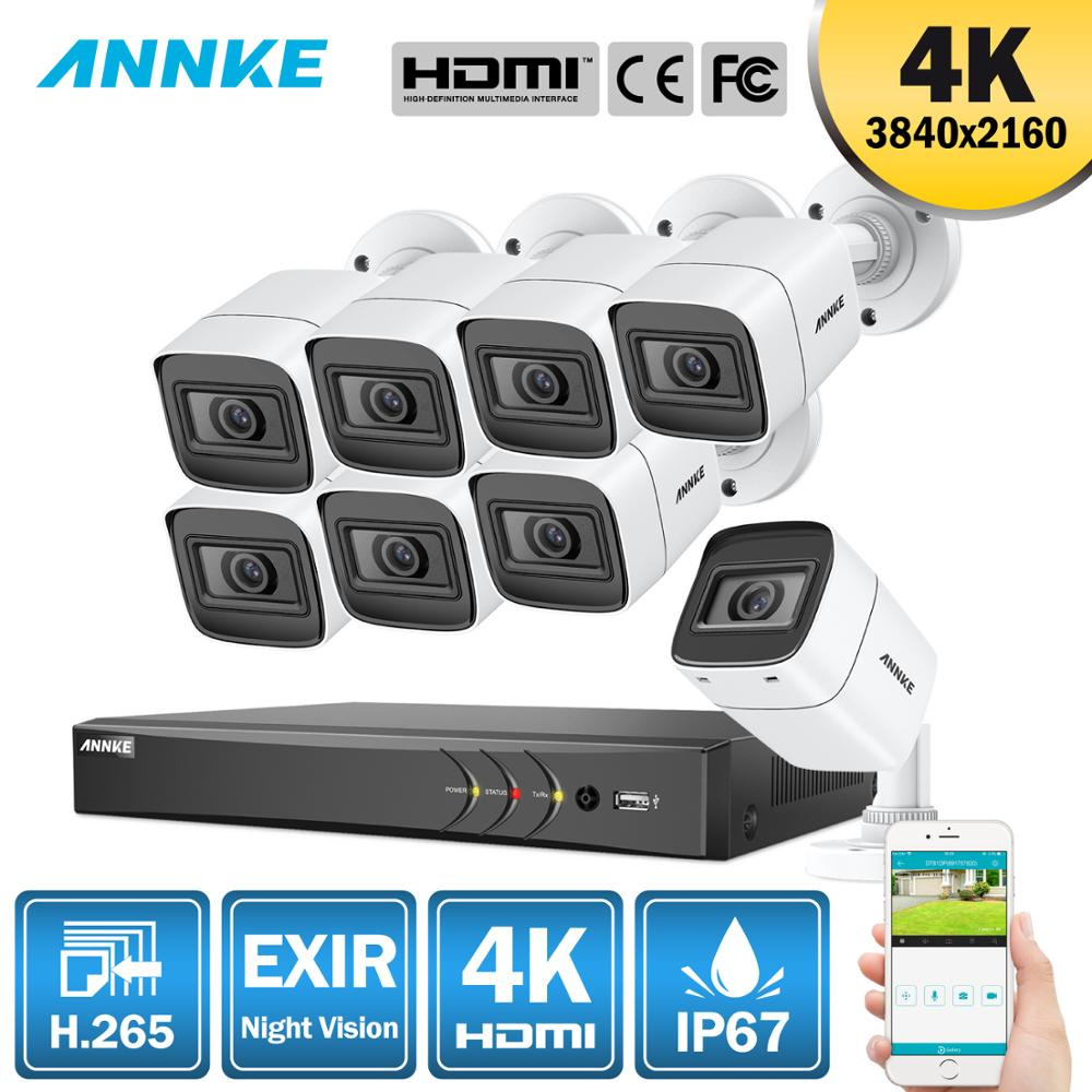 ANNKE 4K Ultra HD 8CH DVR H.265 CCTV Camera Security System 8PCS 8MP CCTV System IR Outdoor Night Vision Video Surveillance Kit