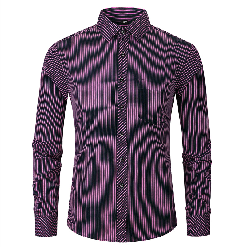 Classic Striped Men's Long Sleeve Casual Shirt Male Social Slim Fit Business Dress Shirt Plus Size 4XL 5XL 6XL 7XL 8XL
