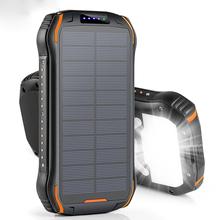 26800mAh Powerbank na energię słoneczną szybka bezprzewodowa ładowarka Qi do Powerbank bateria zewnętrzna przenośna latarka Poverbank tanie tanio BATANDYJUNYAO CN (pochodzenie) Ogniwa słoneczne