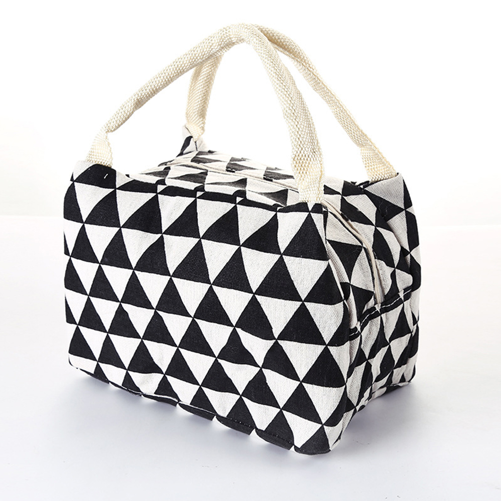 Cotton Linen Camping School Portable Food Storage Large Capacity Lightweight Cooler Tote Lunch Bag Printed Meal Insulation