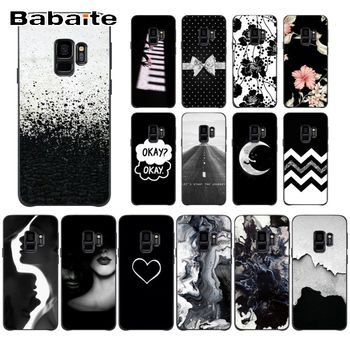 cover for s9 Black & White Pattern Black Soft Shell Phone case Cover For Samsung Galaxy s10 s10plus s6 s9 s8 plus s7 s6edge case image