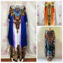 Платье с запахом Длина: 140 см, обхват груди: 117 см Модное шифоновое элегантное платье большого размера с традиционным принтом в африканском стиле для леди(DBF02