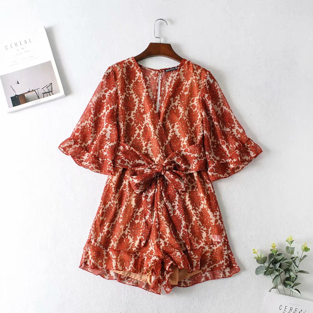 Women Print Sashes Chiffon Playsuits 2020 Fashion Ladies V-neck Batwing Sleeve Rompers Chic Girls Beach Style