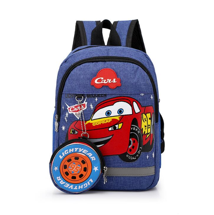 Disney 2020 New Kindergarten Lovely Backpack+purse Coin Boy Bag Spiderman 95 Car Children Boy Bag For School