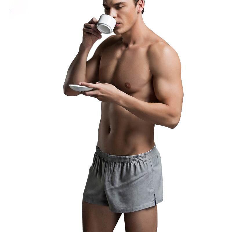 Brand Sides Split New Mens Solid Short Pajamas Sexy Cotton Men Sleep Bottoms Fashion Man Homewear Sleeping Shorts Underwear
