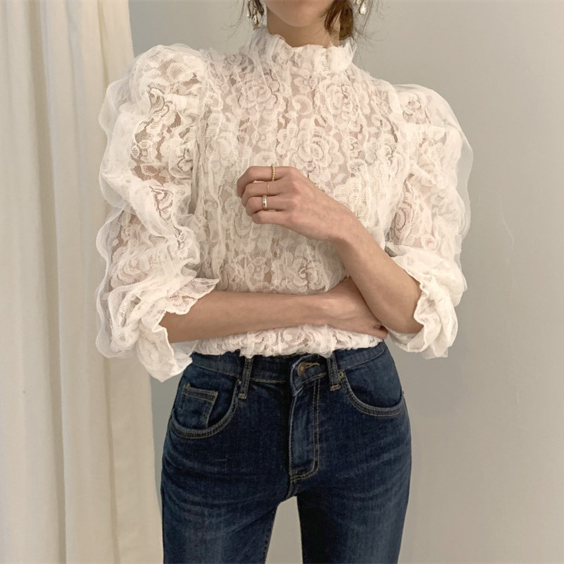 Alien Kitty New Fashion 2020 OL Mesh Lace Shirt Crochet Flower Blouses Stand Collar Puff Sleeve Shirts Female Hollow Out Tops