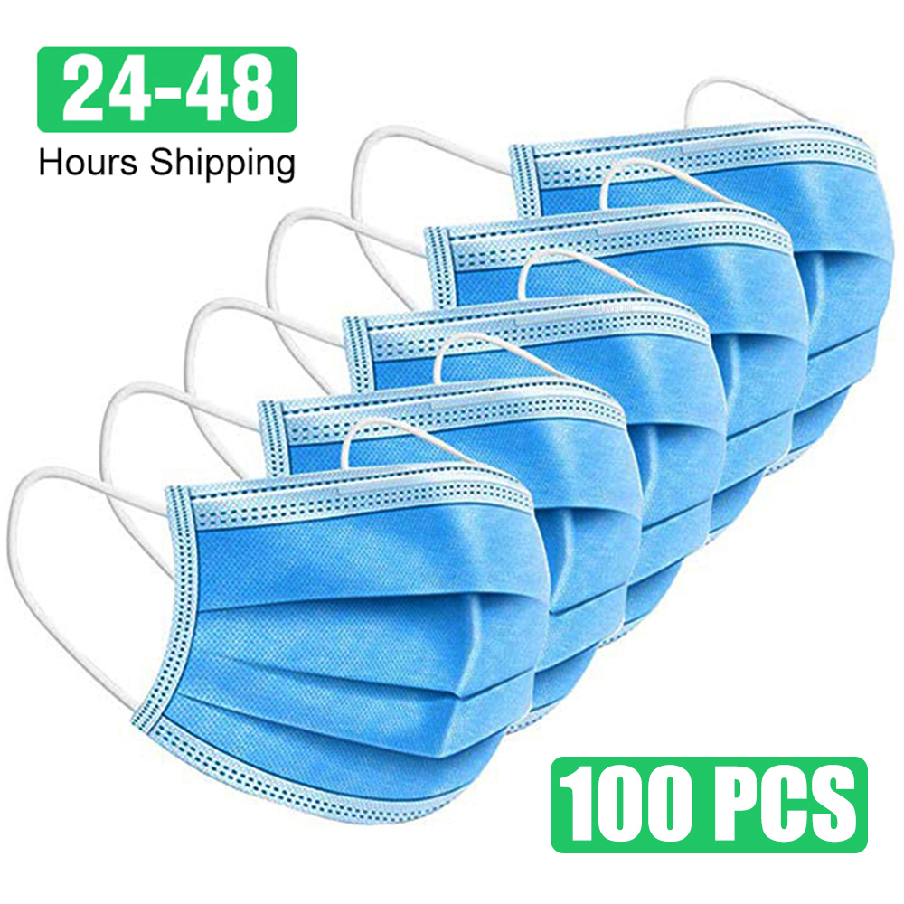 100pcs Face Mouth Anti Virus Mask Disposable Protect 3 Layers Filter Dustproof Earloop Non Woven Mouth Masks 36 Hours Shipping