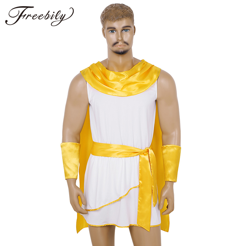 Mens Greek Roman Cosplay Costume Grecian God Costumes Adult God Carnival Halloween Fancy Dress Clothing Set