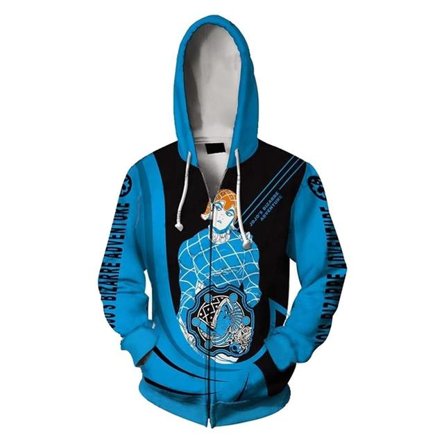 JoJo's Bizarre Adventure Kujo Jotaro Hoodie GUIDO MISTA Print Zip Up Sweatshirt Fall Winter Clothes Jacket Men Women Cardigan 2
