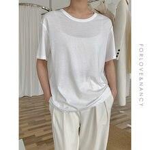 Nuevo verano T camisa mujeres suave transpirable libre suelto gran oferta sólida fresca Casual corto Natural básicos camisas 9 colores