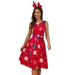 Plus Size Woman Vintage Dress Santa Christmas Retro Xmas Printed O-Neck Sleeveless Swing Dress Sexy Women Clothing Hot 4