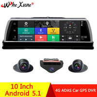 WHEXUNE 2019 New 4G 4 Channel Android 5.1 WIFI Car DVR Camera 10 IPS ADAS GPS Navigation Dash Cam Full HD 1080P Video Recorder
