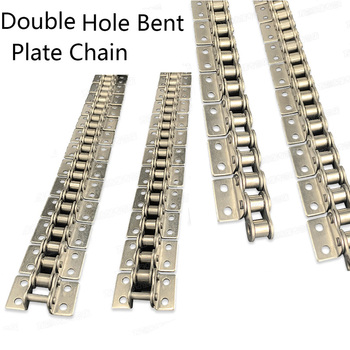 Industrial Transmission Chain 304 Stainless Steel Bent Plate Chains with Ear 08B Single-side Double-side Single-hole Double-hole