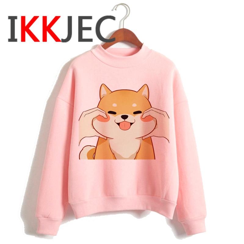 Shiba Inu Kawaii Dogs Funny Cartoon Grunge Aesthetic Hoodies Women Ladies Harajuku Cute Anime Sweatshirt Streetwear Hodoy Female 17
