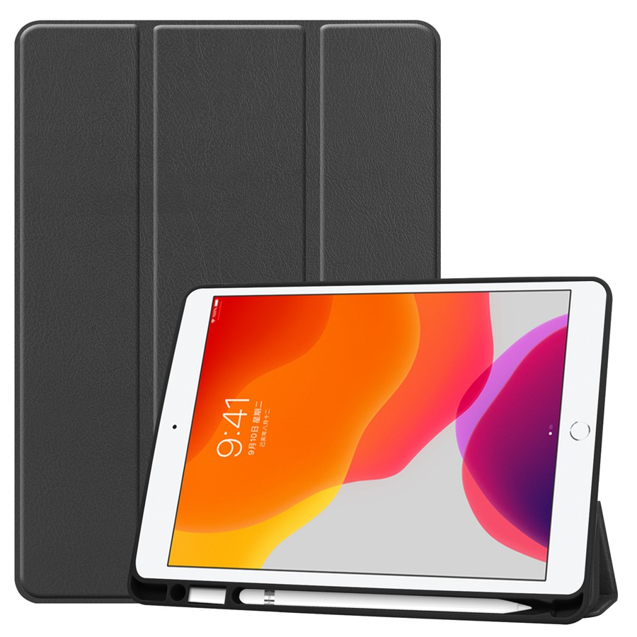 black Purple Slim Smart PU Leather Case For Apple iPad 10 2 2019 with Pencil Holder Cover For
