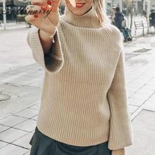 Sollinarry Chic Turtleneck Sweater Women 2019 Ribbed Casual Knitted Pullovers Female Clothes Winter Green Oversize Tops Knitwear ribbed furcal knitwear